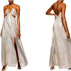 TOPSHOP LA Glitter Cutout Maxi Dress Sz US 8